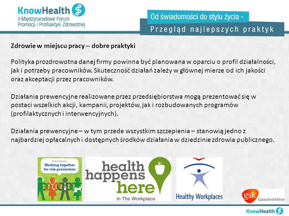 Zdrowie w miejscu pracy – dobre praktyki Polityka prozdrowotna danej firmy powinna być planowana w oparciu o profil działalności, jak i potrzeby praco