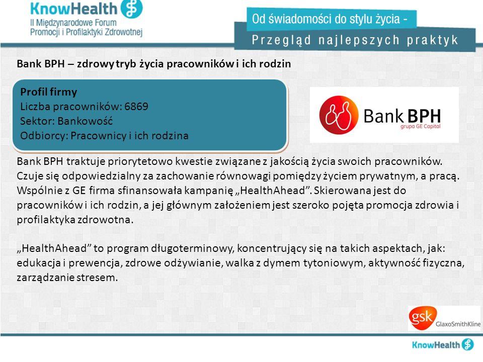 Bank BPH – zdrowy tryb życia pracowników i ich rodzin Profil firmy Liczba pracowników: 6869 Sektor: Bankowość Odbiorcy: Pracownicy i ich rodzina Profi