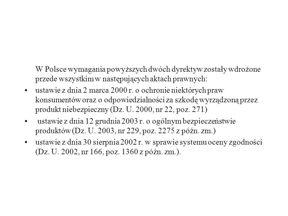W Polsce wymagania powyższych dwóch dyrektyw zostały wdrożone przede wszystkim w następujących aktach prawnych: ustawie z dnia 2 marca 2000 r. o ochro