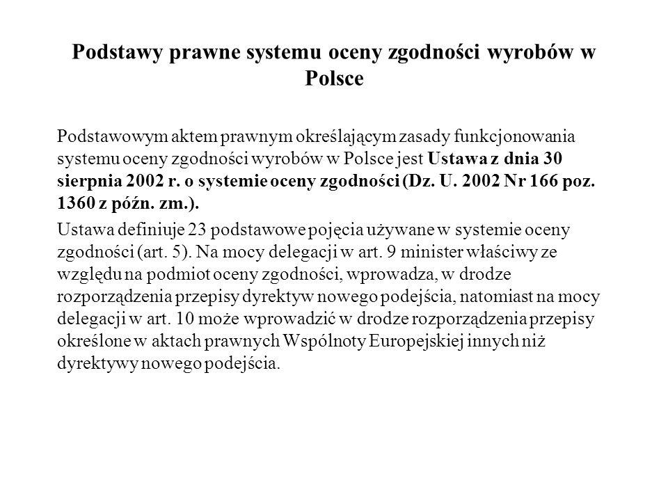 Podstawy prawne systemu oceny zgodności wyrobów w Polsce Podstawowym aktem prawnym określającym zasady funkcjonowania systemu oceny zgodności wyrobów