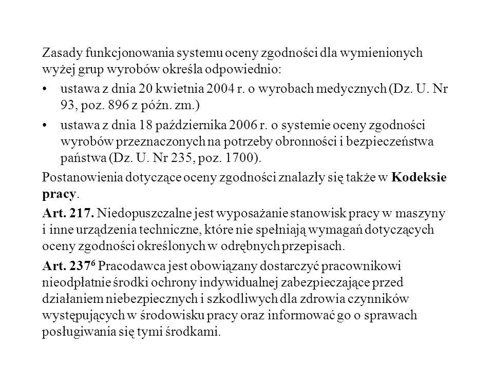 Zasady funkcjonowania systemu oceny zgodności dla wymienionych wyżej grup wyrobów określa odpowiednio: ustawa z dnia 20 kwietnia 2004 r. o wyrobach me