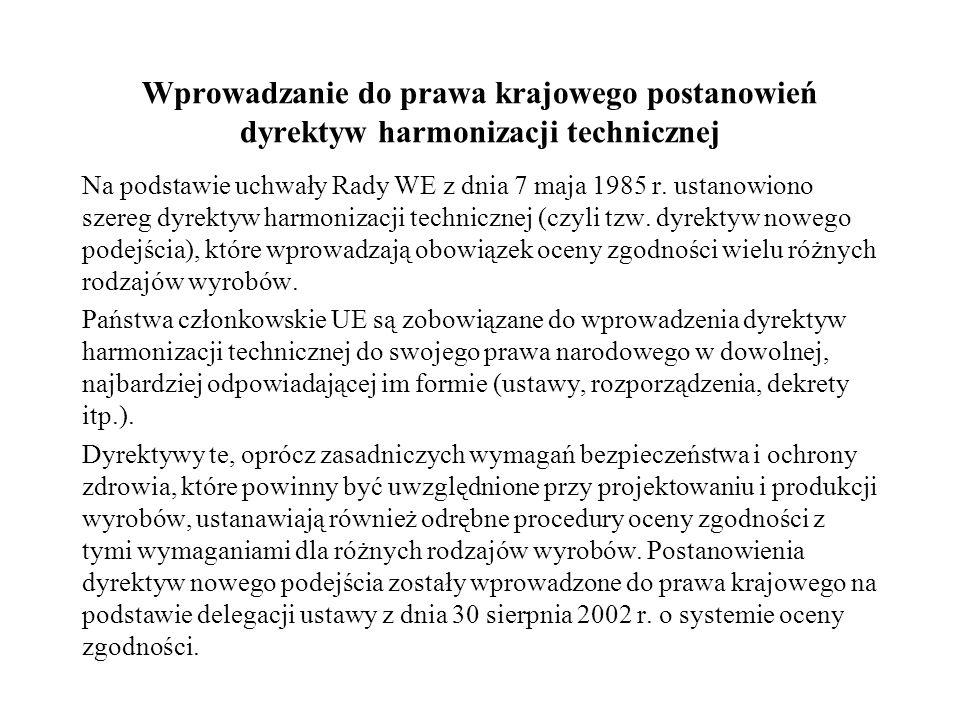 Wprowadzanie do prawa krajowego postanowień dyrektyw harmonizacji technicznej Na podstawie uchwały Rady WE z dnia 7 maja 1985 r. ustanowiono szereg dy