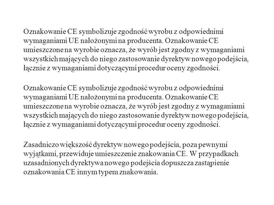 Oznakowanie CE symbolizuje zgodność wyrobu z odpowiednimi wymaganiami UE nałożonymi na producenta. Oznakowanie CE umieszczone na wyrobie oznacza, że w