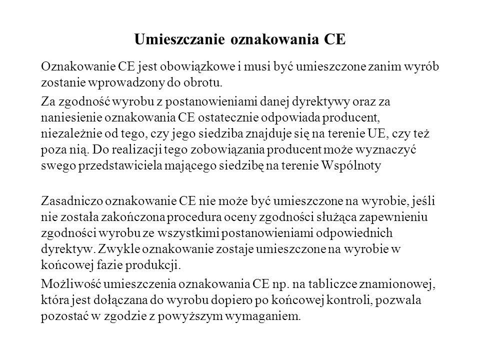 Umieszczanie oznakowania CE Oznakowanie CE jest obowiązkowe i musi być umieszczone zanim wyrób zostanie wprowadzony do obrotu. Za zgodność wyrobu z po