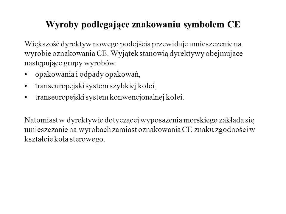 Wyroby podlegające znakowaniu symbolem CE Większość dyrektyw nowego podejścia przewiduje umieszczenie na wyrobie oznakowania CE. Wyjątek stanowią dyre