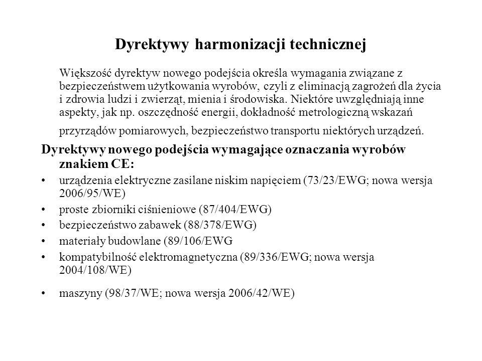 Dyrektywy harmonizacji technicznej Większość dyrektyw nowego podejścia określa wymagania związane z bezpieczeństwem użytkowania wyrobów, czyli z elimi
