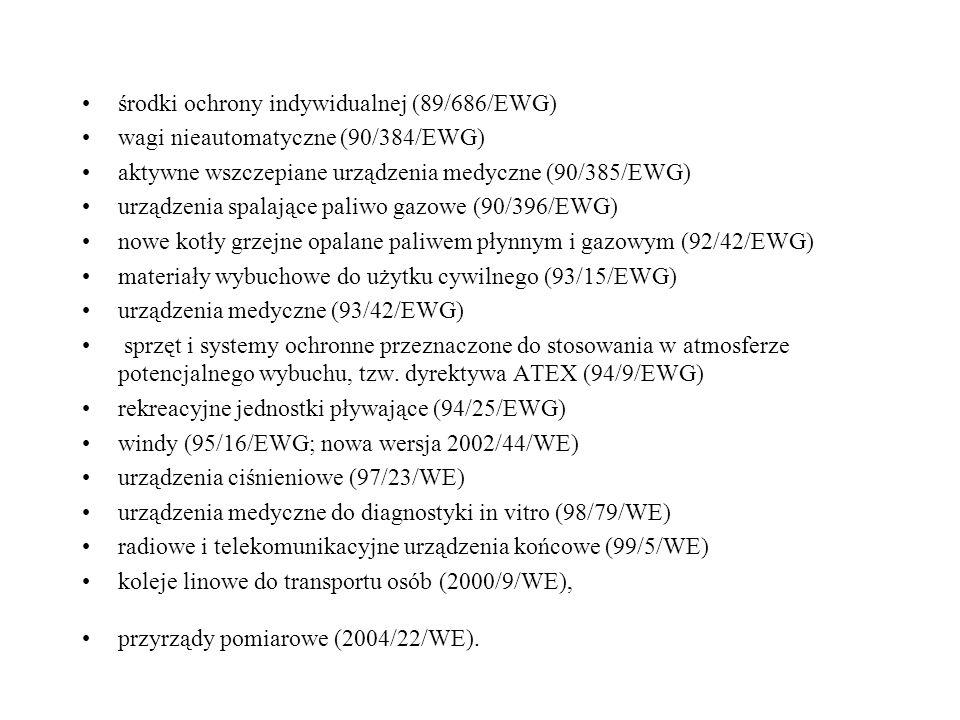 środki ochrony indywidualnej (89/686/EWG) wagi nieautomatyczne (90/384/EWG) aktywne wszczepiane urządzenia medyczne (90/385/EWG) urządzenia spalające