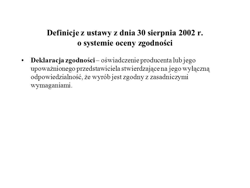 Definicje z ustawy z dnia 30 sierpnia 2002 r. o systemie oceny zgodności Deklaracja zgodności – oświadczenie producenta lub jego upoważnionego przedst