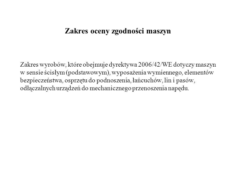 Zakres oceny zgodności maszyn Zakres wyrobów, które obejmuje dyrektywa 2006/42/WE dotyczy maszyn w sensie ścisłym (podstawowym), wyposażenia wymienneg