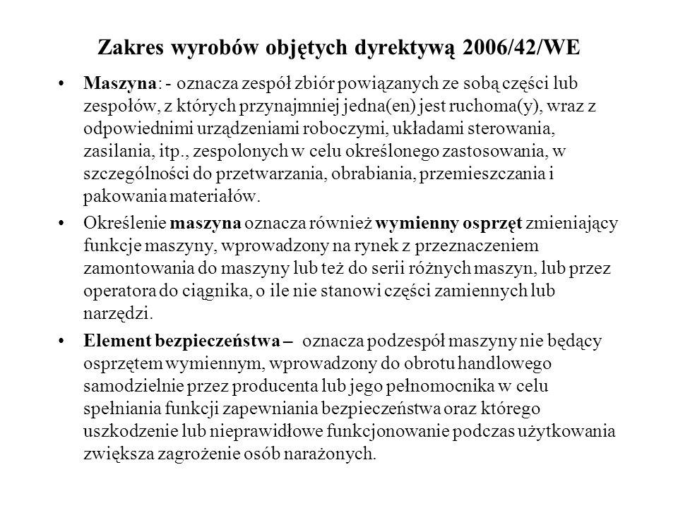 Zakres wyrobów objętych dyrektywą 2006/42/WE Maszyna: - oznacza zespół zbiór powiązanych ze sobą części lub zespołów, z których przynajmniej jedna(en)