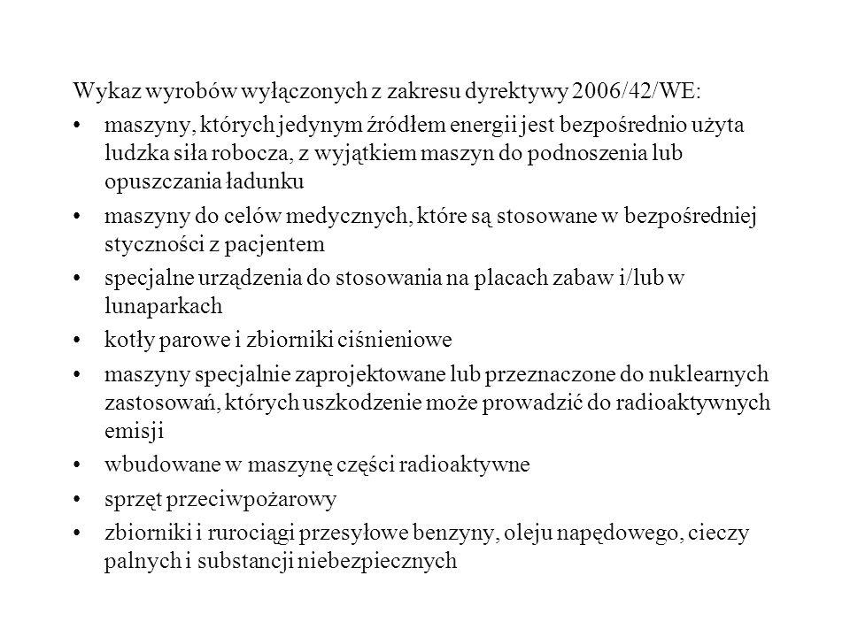 Wykaz wyrobów wyłączonych z zakresu dyrektywy 2006/42/WE: maszyny, których jedynym źródłem energii jest bezpośrednio użyta ludzka siła robocza, z wyją