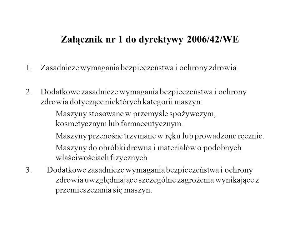 Załącznik nr 1 do dyrektywy 2006/42/WE 1.Zasadnicze wymagania bezpieczeństwa i ochrony zdrowia. 2.Dodatkowe zasadnicze wymagania bezpieczeństwa i ochr