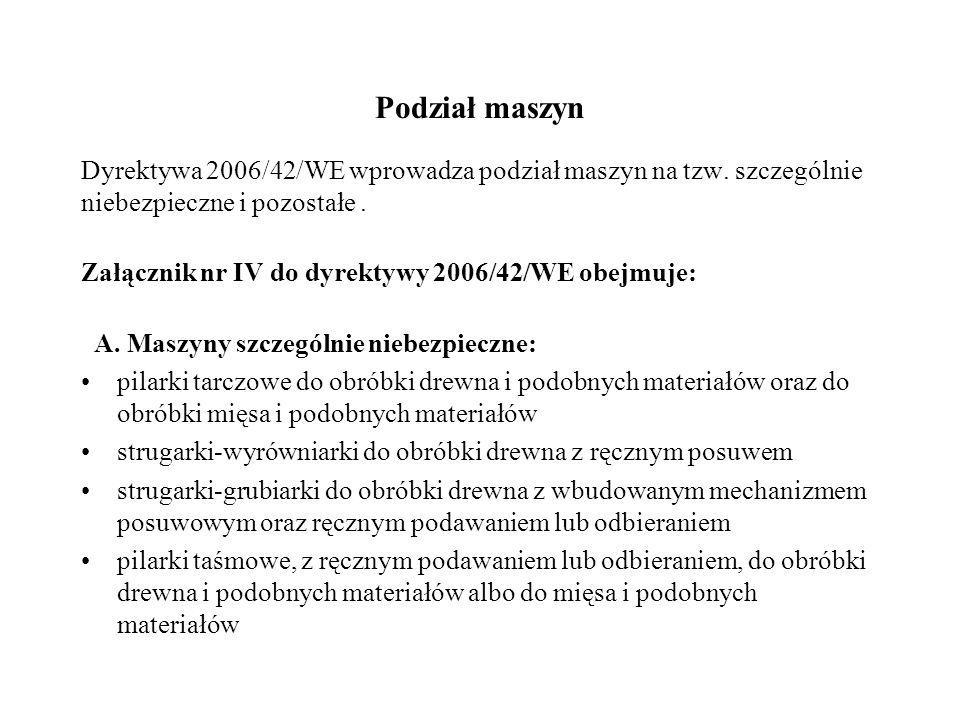 Podział maszyn Dyrektywa 2006/42/WE wprowadza podział maszyn na tzw. szczególnie niebezpieczne i pozostałe. Załącznik nr IV do dyrektywy 2006/42/WE ob