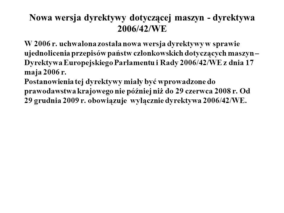 Nowa wersja dyrektywy dotyczącej maszyn - dyrektywa 2006/42/WE W 2006 r. uchwalona została nowa wersja dyrektywy w sprawie ujednolicenia przepisów pań