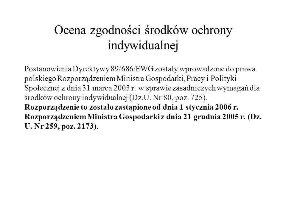 Ocena zgodności środków ochrony indywidualnej Postanowienia Dyrektywy 89/686/EWG zostały wprowadzone do prawa polskiego Rozporządzeniem Ministra Gospo