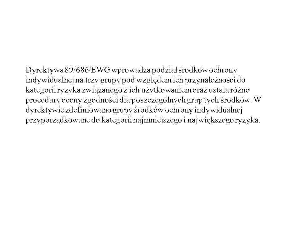 Dyrektywa 89/686/EWG wprowadza podział środków ochrony indywidualnej na trzy grupy pod względem ich przynależności do kategorii ryzyka związanego z ic