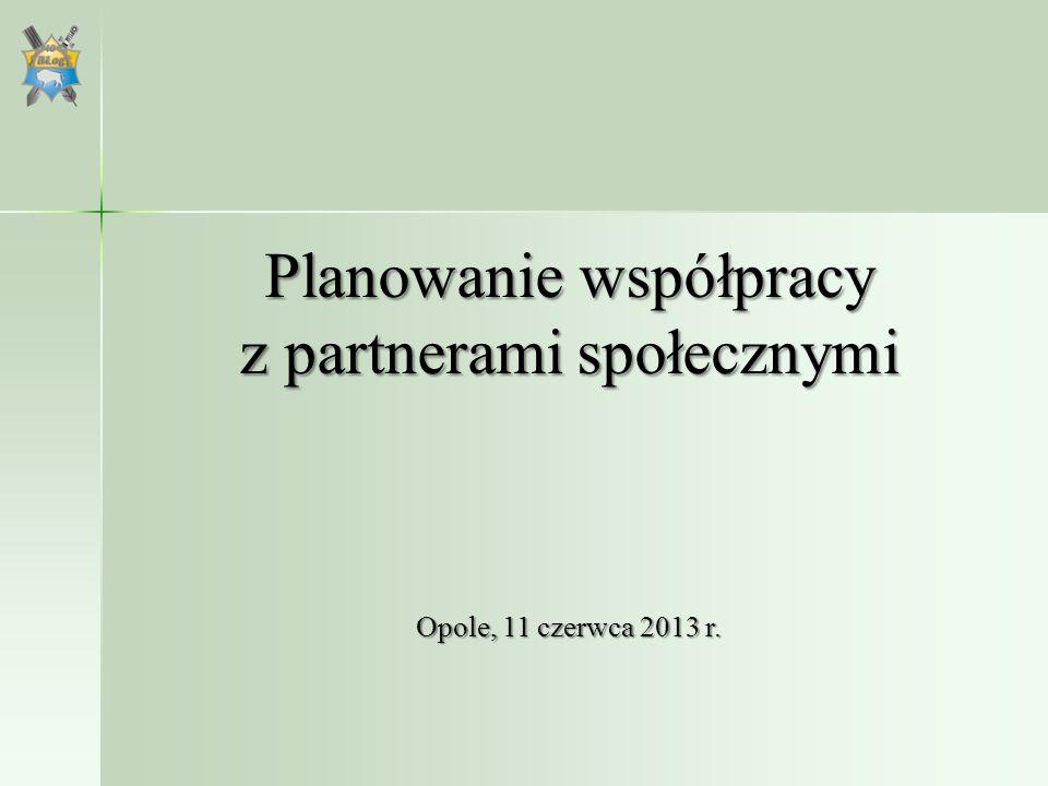 Planowanie współpracy z partnerami społecznymi Opole, 11 czerwca 2013 r.