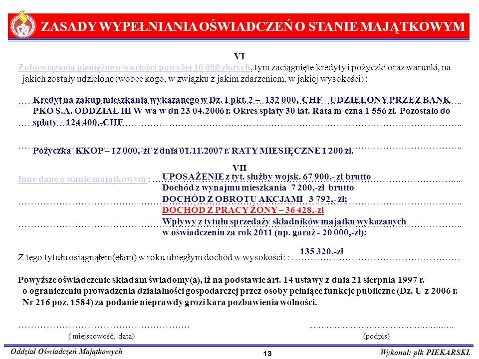 ZASADY WYPEŁNIANIA OŚWIADCZEŃ O STANIE MAJĄTKOWYM Oddział Oświadczeń Majątkowych Wykonał: płk PIEKARSKI. 13 VI Zobowiązania pieniężne o wartości powyż