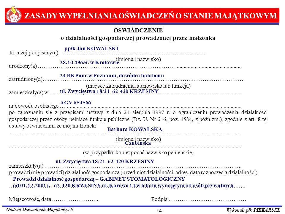 ZASADY WYPEŁNIANIA OŚWIADCZEŃ O STANIE MAJĄTKOWYM Oddział Oświadczeń Majątkowych Wykonał: płk PIEKARSKI. 14 OŚWIADCZENIE o działalności gospodarczej p