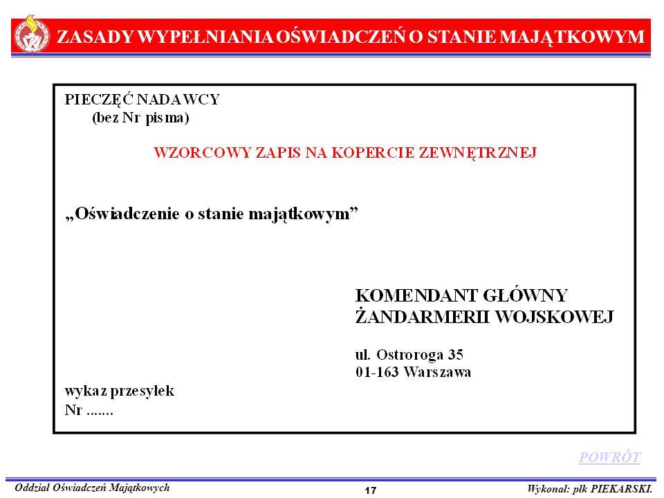 ZASADY WYPEŁNIANIA OŚWIADCZEŃ O STANIE MAJĄTKOWYM Oddział Oświadczeń Majątkowych Wykonał: płk PIEKARSKI. 17 POWRÓT