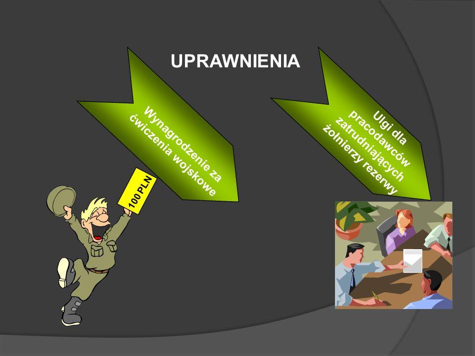 Wynagrodzenie za ćwiczenia wojskowe 100 PLN Ulgi dla pracodawców zatrudniających żołnierzy rezerwy Wynagrodzenie za ćwiczenia wojskowe UPRAWNIENIA