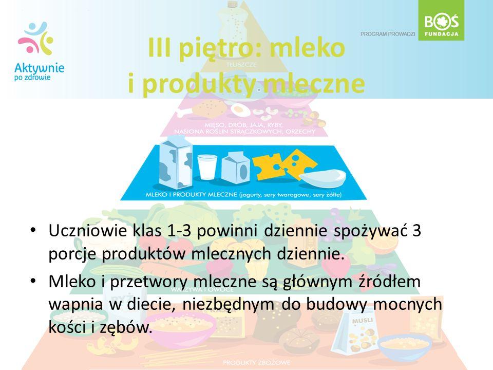 III piętro: mleko i produkty mleczne Uczniowie klas 1-3 powinni dziennie spożywać 3 porcje produktów mlecznych dziennie. Mleko i przetwory mleczne są