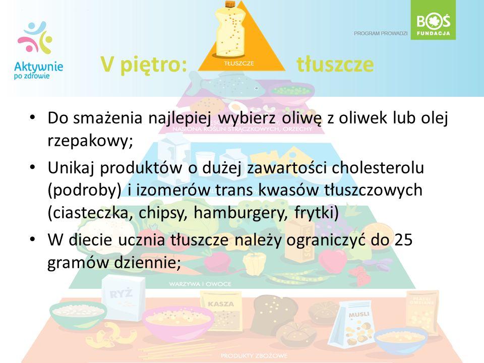 V piętro: tłuszcze Do smażenia najlepiej wybierz oliwę z oliwek lub olej rzepakowy; Unikaj produktów o dużej zawartości cholesterolu (podroby) i izome