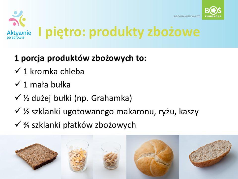 I piętro: produkty zbożowe 1 porcja produktów zbożowych to: 1 kromka chleba 1 mała bułka ½ dużej bułki (np. Grahamka) ½ szklanki ugotowanego makaronu,