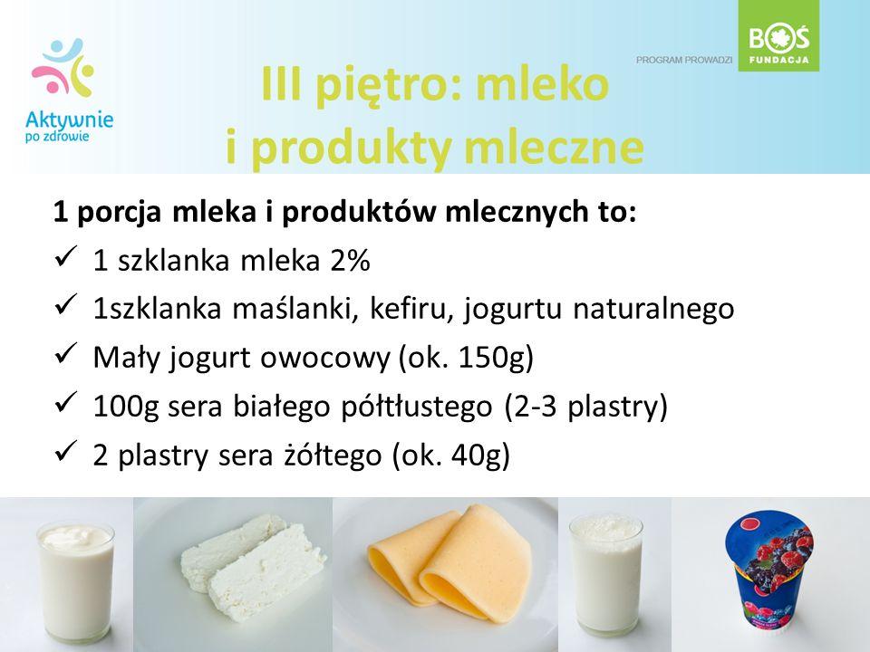 III piętro: mleko i produkty mleczne 1 porcja mleka i produktów mlecznych to: 1 szklanka mleka 2% 1szklanka maślanki, kefiru, jogurtu naturalnego Mały