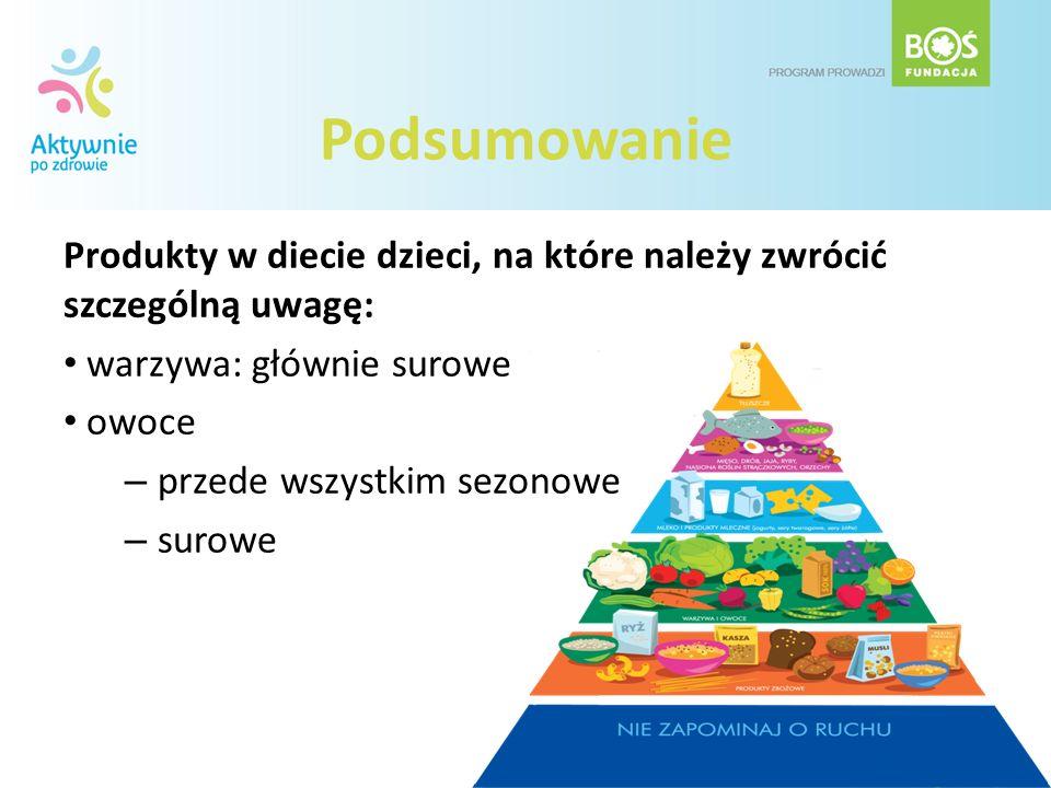 Podsumowanie Produkty w diecie dzieci, na które należy zwrócić szczególną uwagę: warzywa: głównie surowe owoce – przede wszystkim sezonowe – surowe
