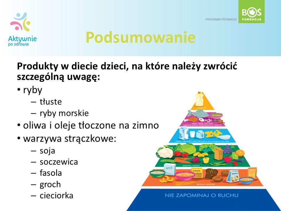 Podsumowanie Produkty w diecie dzieci, na które należy zwrócić szczególną uwagę: ryby – tłuste – ryby morskie oliwa i oleje tłoczone na zimno warzywa