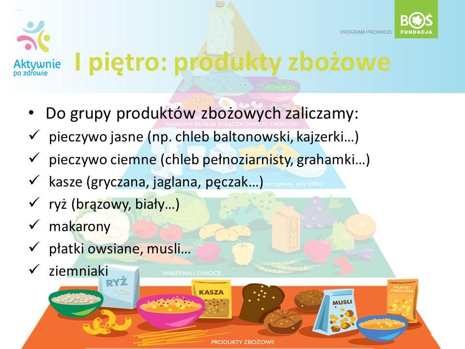 I piętro: produkty zbożowe Do grupy produktów zbożowych zaliczamy: pieczywo jasne (np. chleb baltonowski, kajzerki…) pieczywo ciemne (chleb pełnoziarn