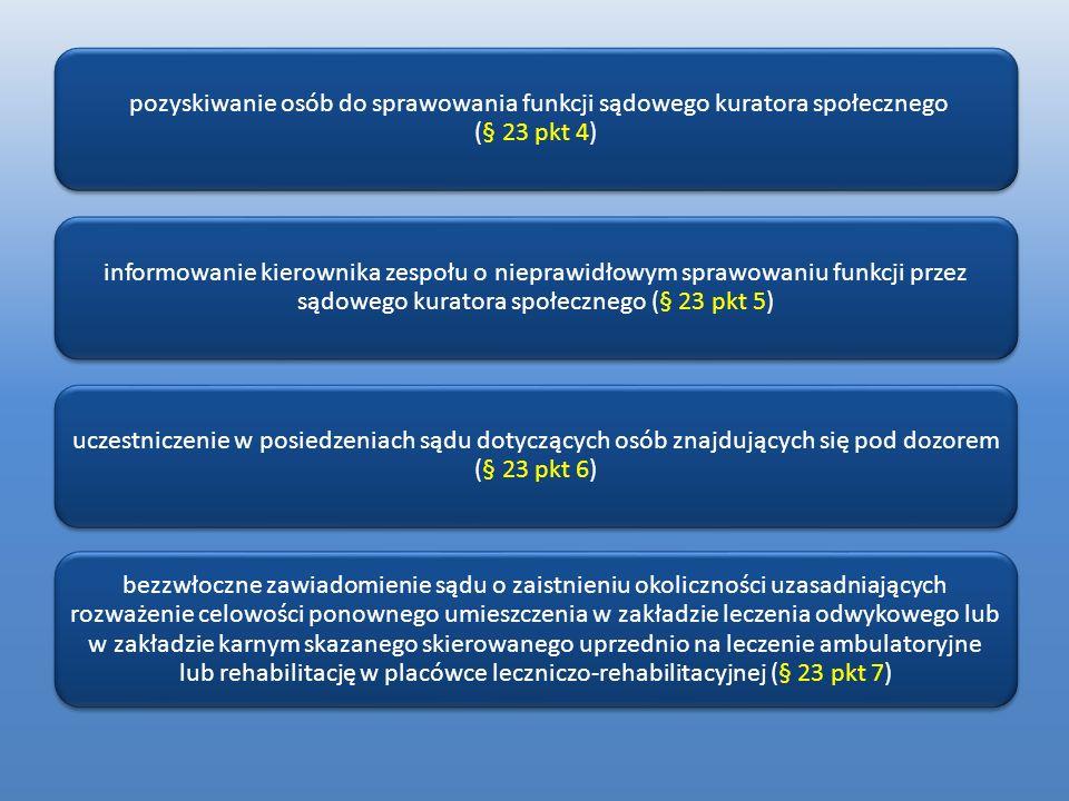pozyskiwanie osób do sprawowania funkcji sądowego kuratora społecznego (§ 23 pkt 4) informowanie kierownika zespołu o nieprawidłowym sprawowaniu funkc