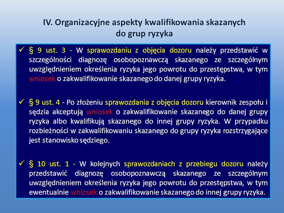 § 9 ust. 3 - W sprawozdaniu z objęcia dozoru należy przedstawić w szczególności diagnozę osobopoznawczą skazanego ze szczególnym uwzględnieniem określ