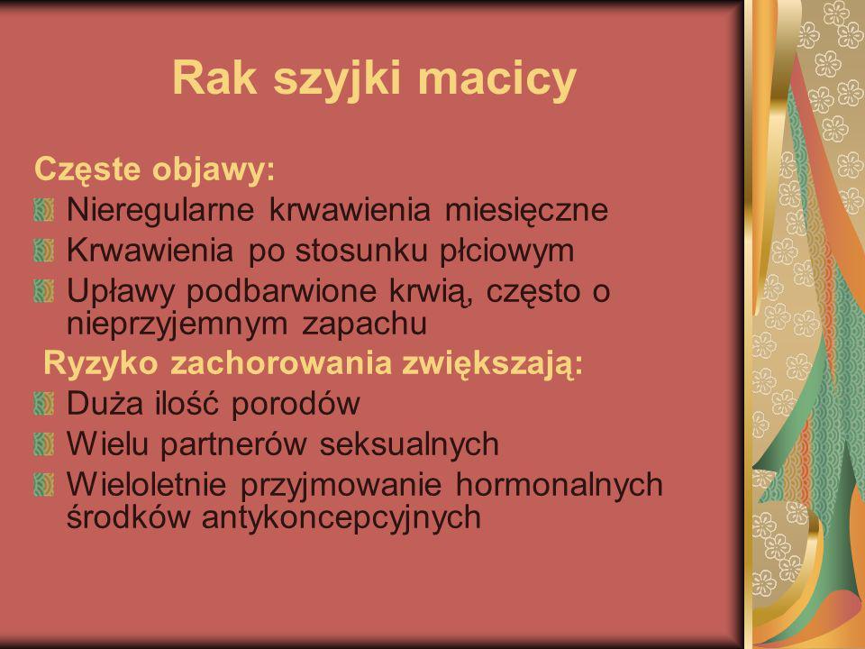 Rak szyjki macicy Częste objawy: Nieregularne krwawienia miesięczne Krwawienia po stosunku płciowym Upławy podbarwione krwią, często o nieprzyjemnym z