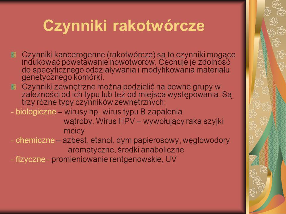 Czynniki rakotwórcze Czynniki kancerogenne (rakotwórcze) są to czynniki mogące indukować powstawanie nowotworów. Cechuje je zdolność do specyficznego