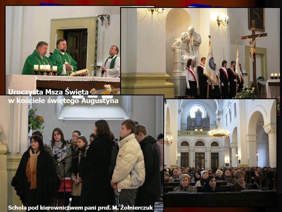 Uroczysta Msza Święta w kościele świętego Augustyna Schola pod kierownictwem pani prof. M. Żołnierczuk