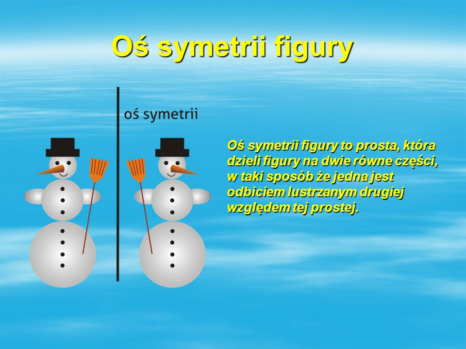Oś symetrii figury Oś symetrii figury to prosta, która dzieli figury na dwie równe części, w taki sposób że jedna jest odbiciem lustrzanym drugiej wzg