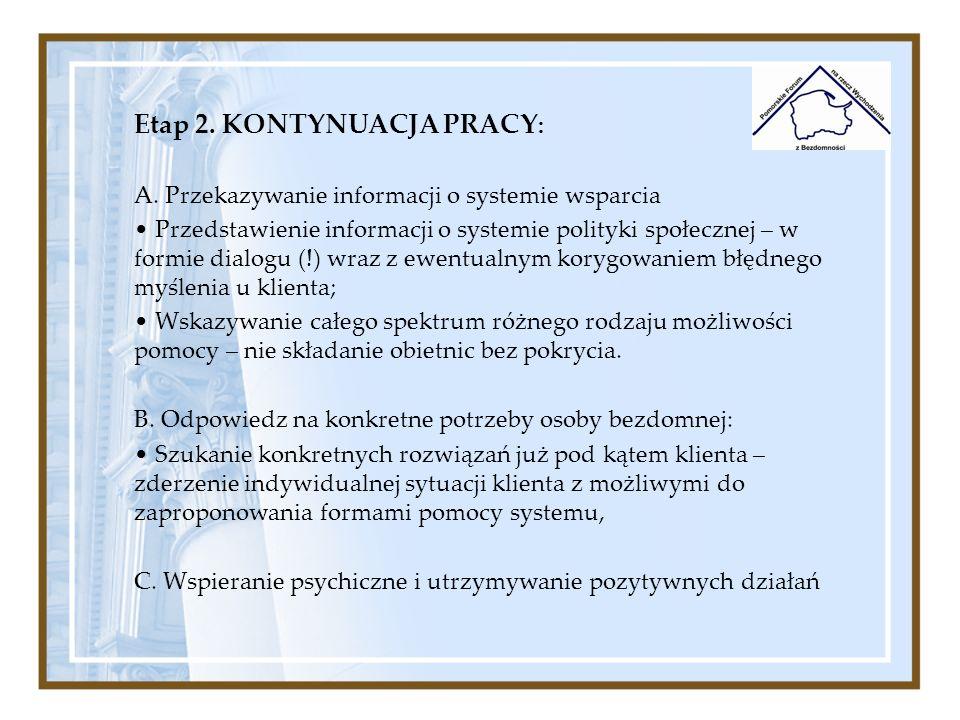 Etap 2. KONTYNUACJA PRACY : A. Przekazywanie informacji o systemie wsparcia Przedstawienie informacji o systemie polityki społecznej – w formie dialog