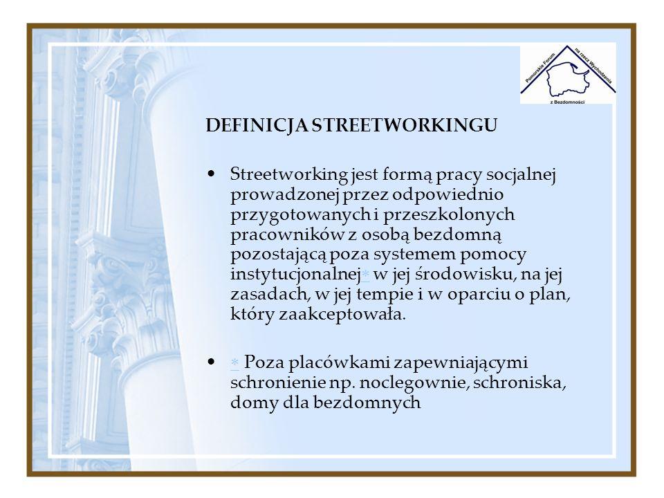 DEFINICJA STREETWORKINGU Streetworking jest formą pracy socjalnej prowadzonej przez odpowiednio przygotowanych i przeszkolonych pracowników z osobą be