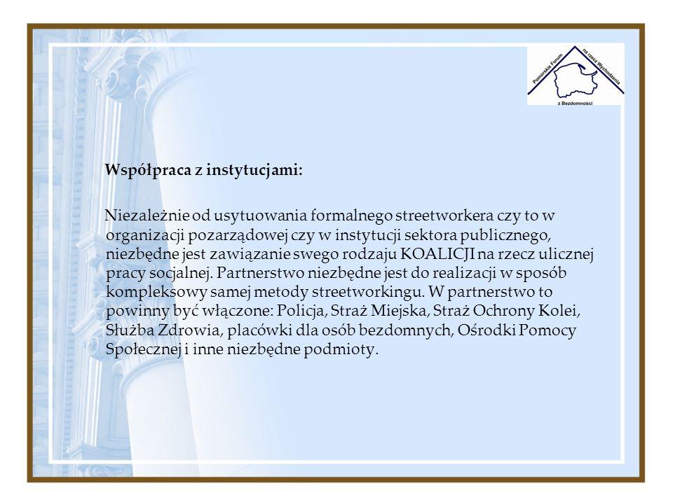 Współpraca z instytucjami: Niezależnie od usytuowania formalnego streetworkera czy to w organizacji pozarządowej czy w instytucji sektora publicznego,