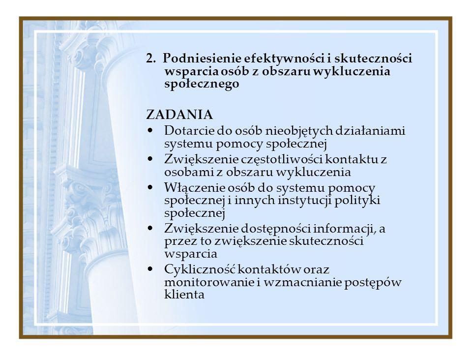 2. Podniesienie efektywności i skuteczności wsparcia osób z obszaru wykluczenia społecznego ZADANIA Dotarcie do osób nieobjętych działaniami systemu p
