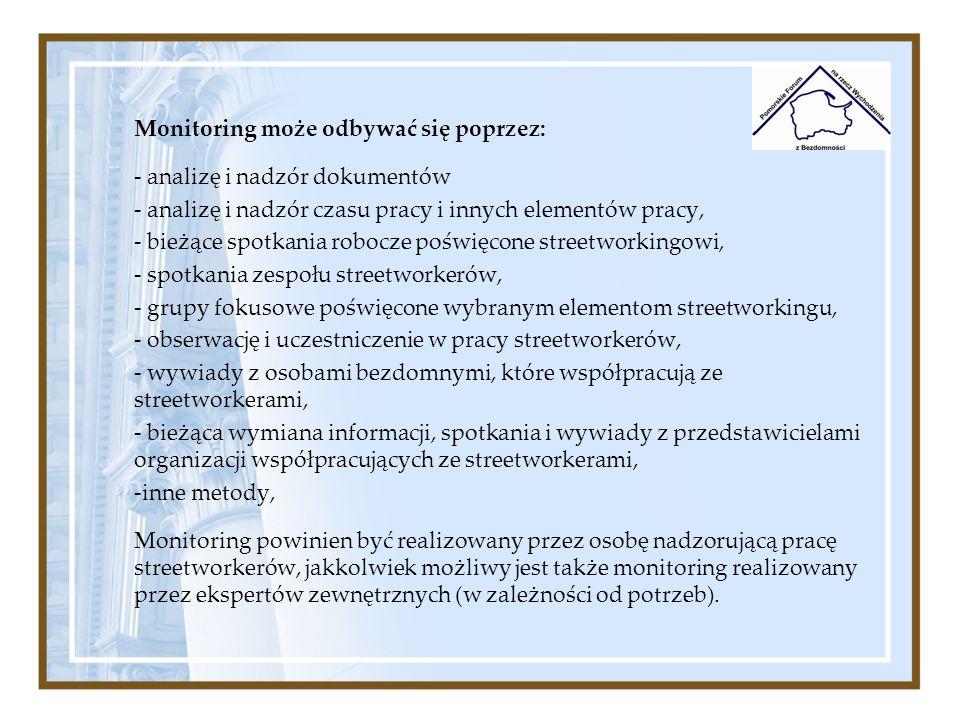 Monitoring może odbywać się poprzez: - analizę i nadzór dokumentów - analizę i nadzór czasu pracy i innych elementów pracy, - bieżące spotkania robocz