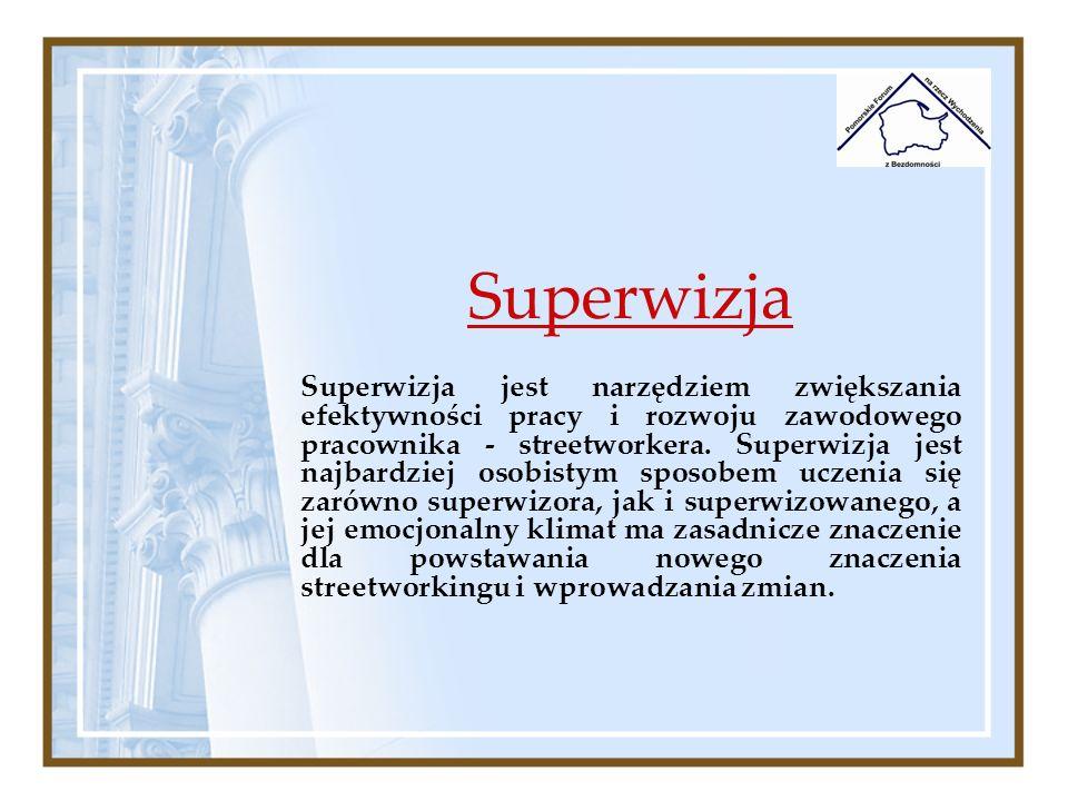 Superwizja Superwizja jest narzędziem zwiększania efektywności pracy i rozwoju zawodowego pracownika - streetworkera. Superwizja jest najbardziej osob