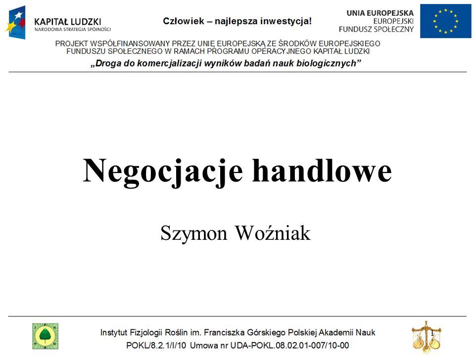 1 Negocjacje handlowe Szymon Woźniak
