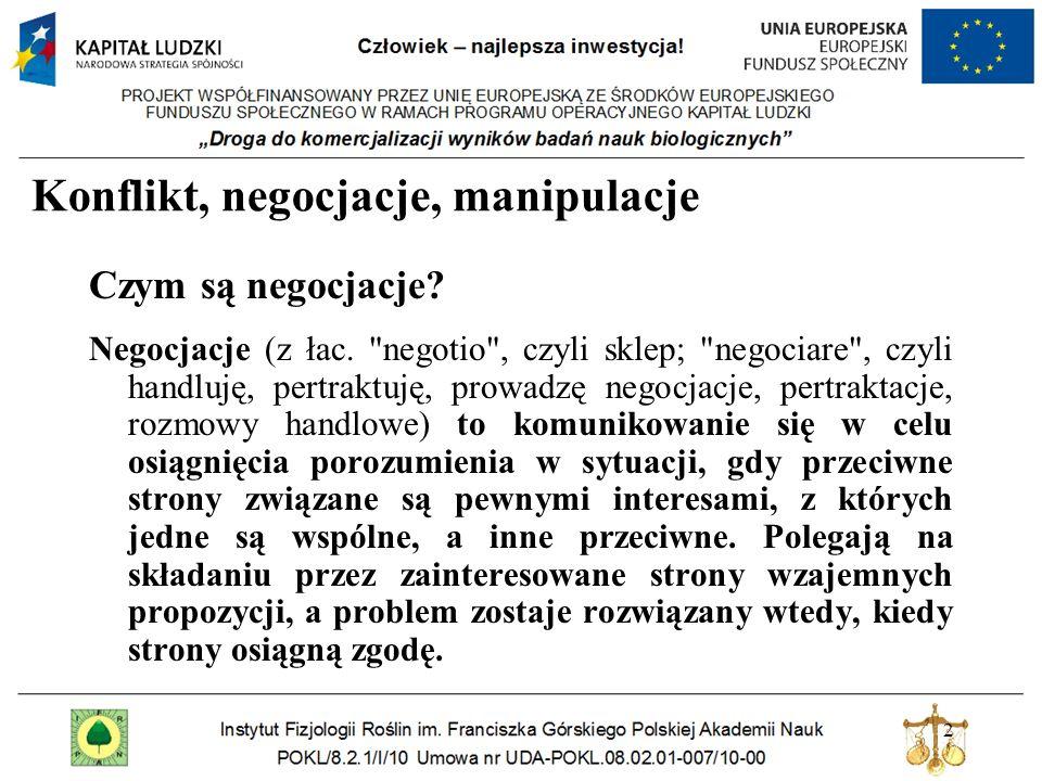 2 Konflikt, negocjacje, manipulacje Czym są negocjacje? Negocjacje (z łac.