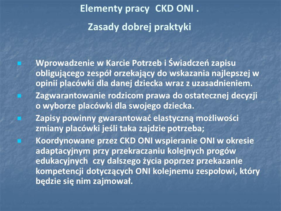 Elementy pracy CKD ONI. Zasady dobrej praktyki Wprowadzenie w Karcie Potrzeb i Świadczeń zapisu obligującego zespół orzekający do wskazania najlepszej
