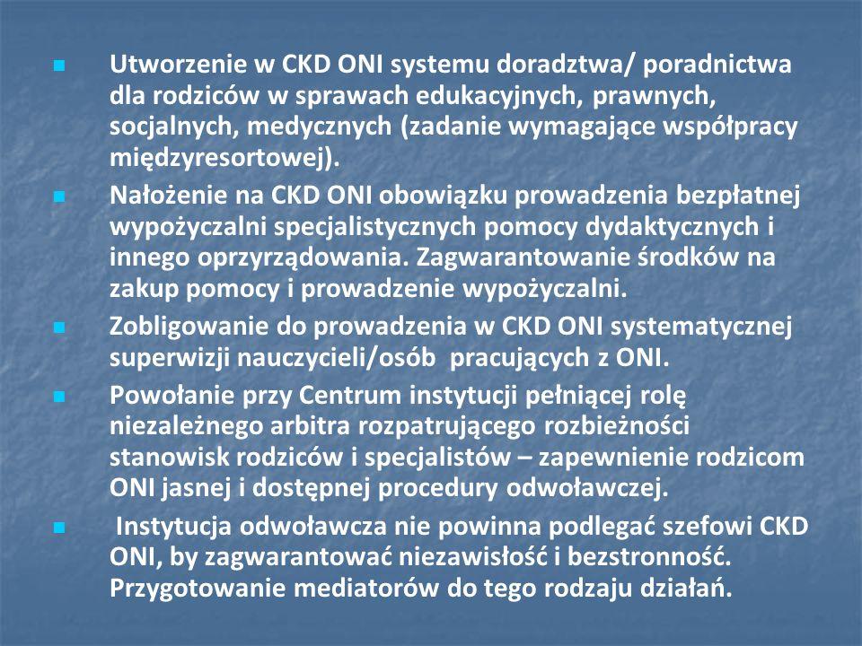 Utworzenie w CKD ONI systemu doradztwa/ poradnictwa dla rodziców w sprawach edukacyjnych, prawnych, socjalnych, medycznych (zadanie wymagające współpr