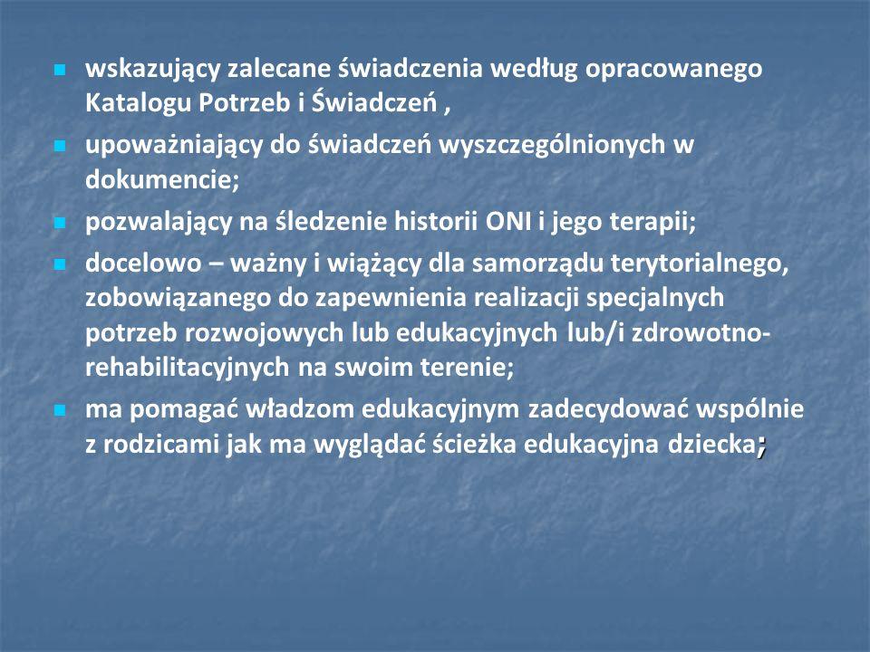 wskazujący zalecane świadczenia według opracowanego Katalogu Potrzeb i Świadczeń, upoważniający do świadczeń wyszczególnionych w dokumencie; pozwalają