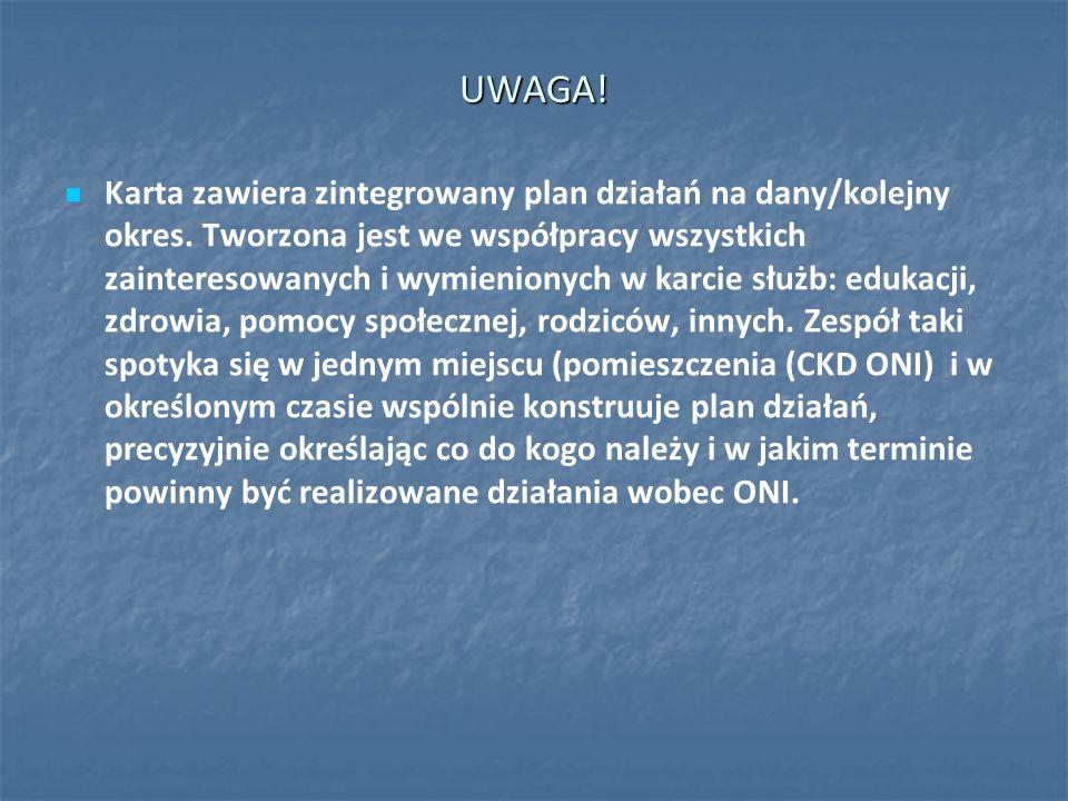 UWAGA! Karta zawiera zintegrowany plan działań na dany/kolejny okres. Tworzona jest we współpracy wszystkich zainteresowanych i wymienionych w karcie